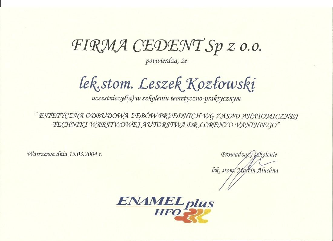 dentysta warszawa DENTYSTA WARSZAWA – DENTOKLINIKA Dentysta warszawa Leszek Kozlowski Dyplom3
