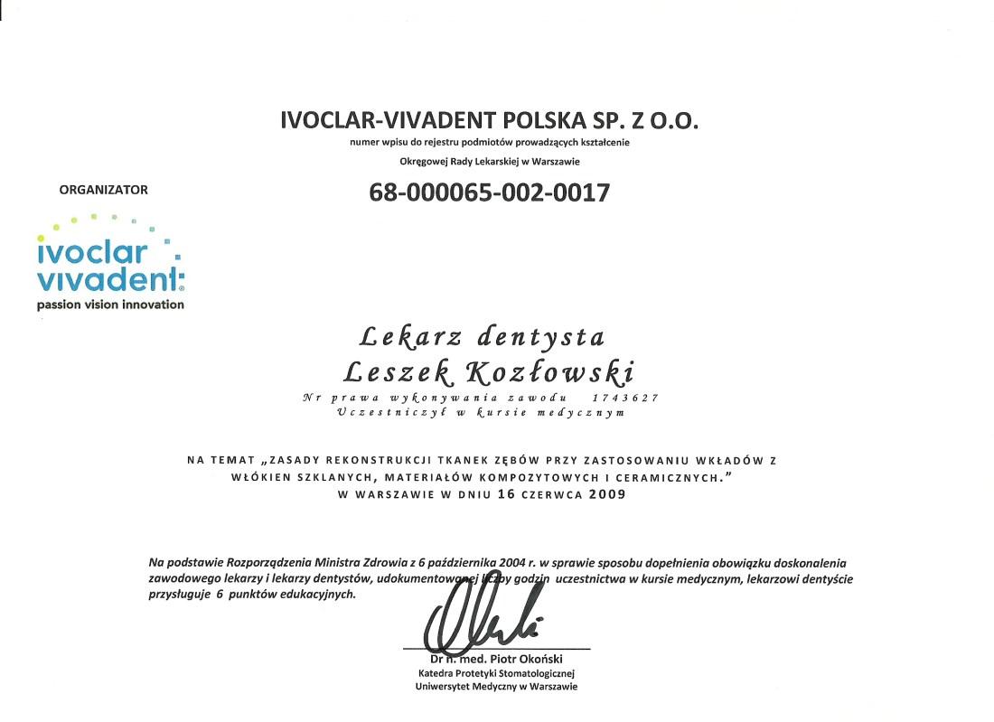dentysta warszawa DENTYSTA WARSZAWA – DENTOKLINIKA Dentysta warszawa Leszek Kozlowski Dyplom7