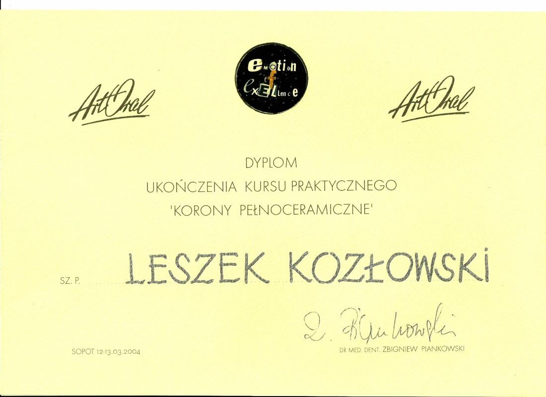dentysta warszawa DENTYSTA WARSZAWA – DENTOKLINIKA Dentysta warszawa Leszek Kozlowski Dyplom8