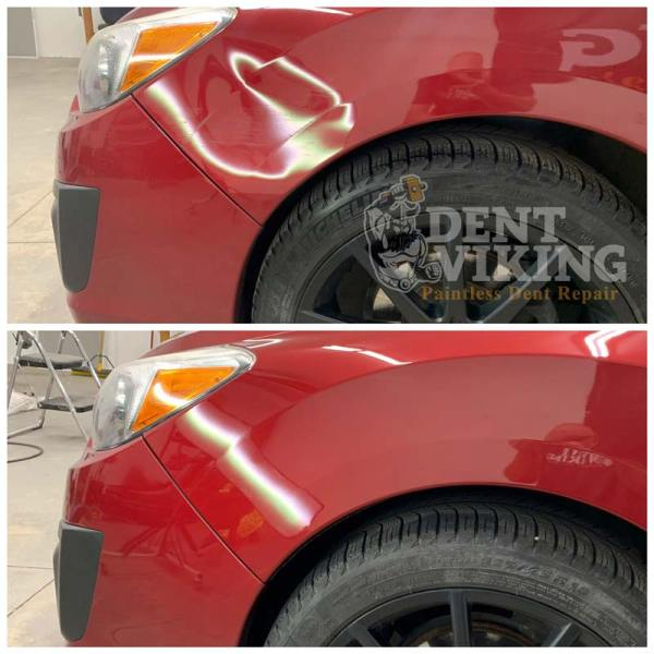 Paintless Dent Repair on Subaru Impreza Fender in Post Falls