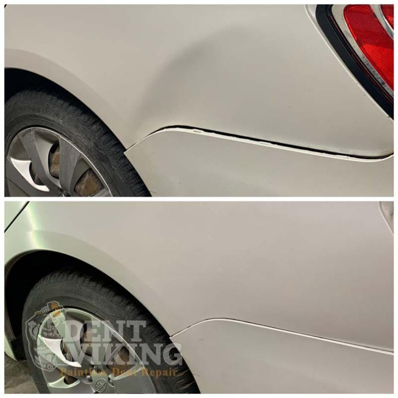 Paintless Dent Repair on Subaru Bumper and QPanel in Spokane