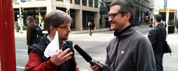 Dennis Van Staalduinen gives a radio interview on the singing busdriver with CBC Radio's Stu Mills