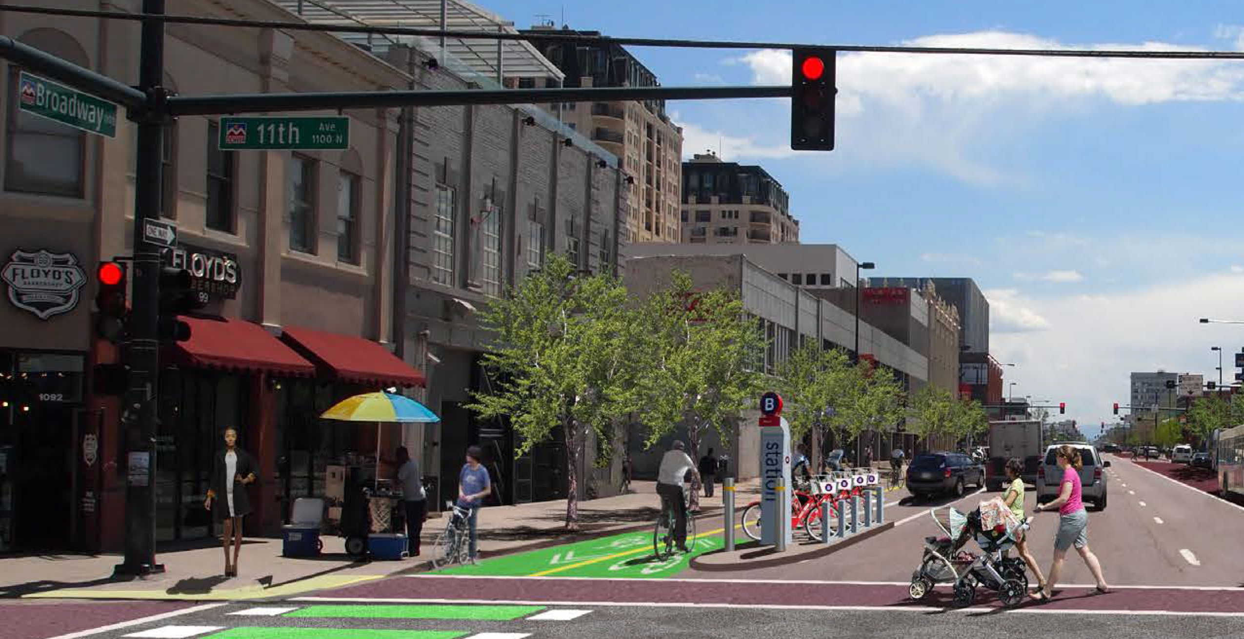 A rendering of what a two-way parking-protected bike lane might look like on lower Broadway. (Image: City and County of Denver)