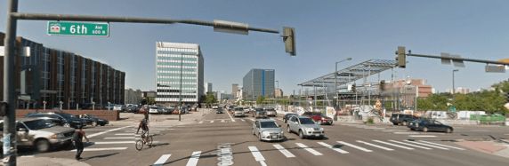 Broadway has plenty of room for people on bikes, but not according to the Denver Business Journal. Image: Google Maps