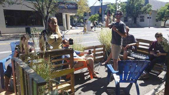 Norris Design created a parklet at 11th and Bannock. Photo Madeline