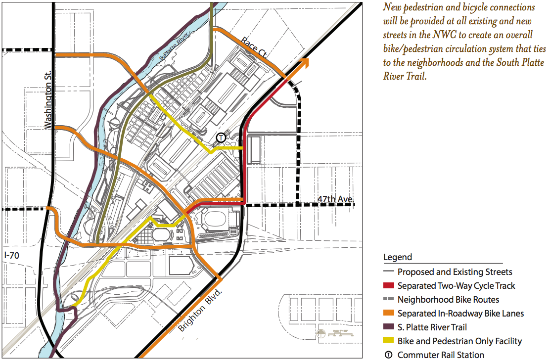 Bright spot in national western plan new bikewalk routes the national western center blueprint includes some good biking and walking infrastructure but unfortunately so do parking spaces and wide travel lanes malvernweather Choice Image