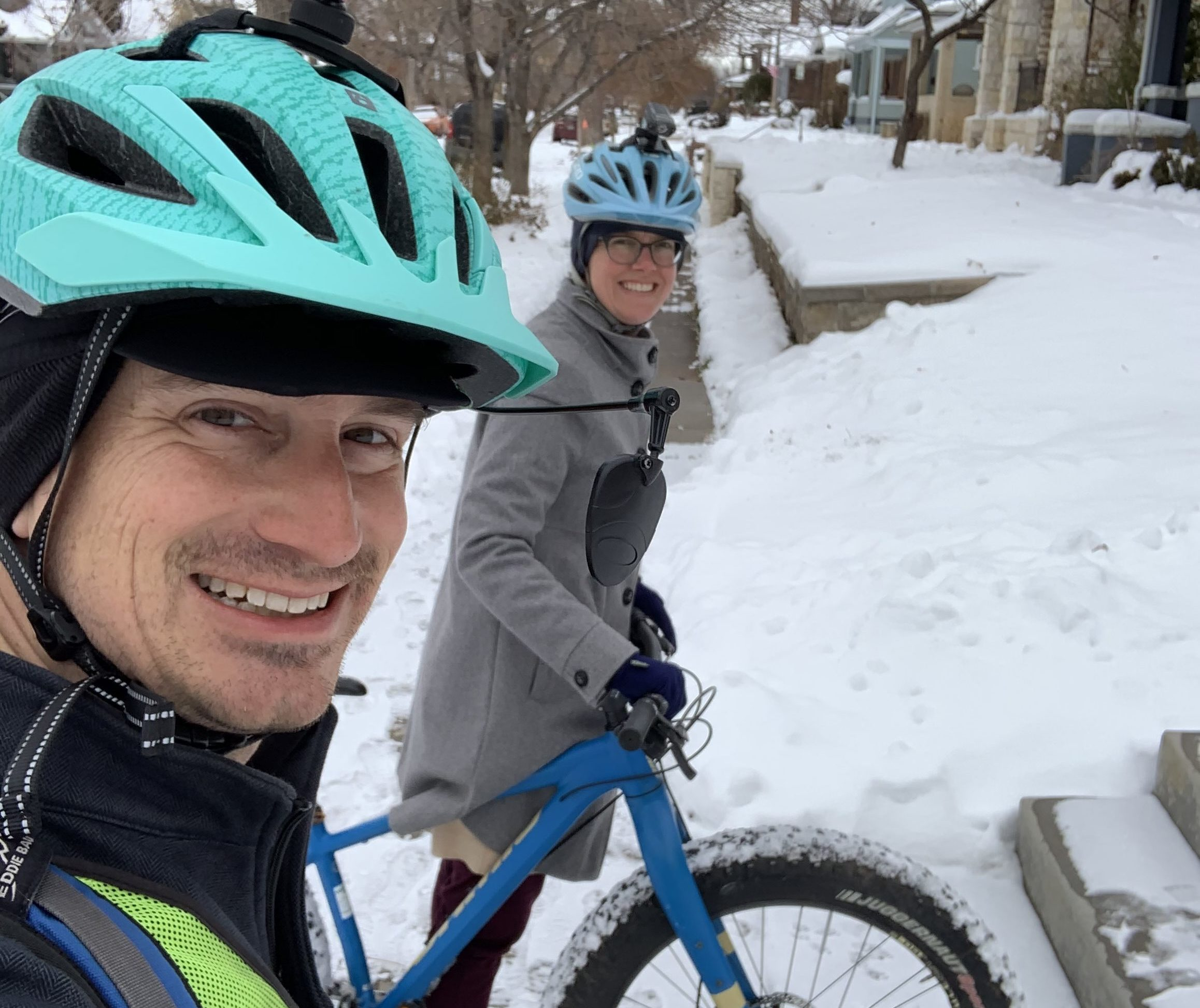 Photo of Kevin Williams and Tenly Williams on a winter date night by bike (credit Kevin Williams)