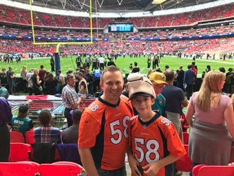 @74Broncos representing Broncos Country with his son at Wembley