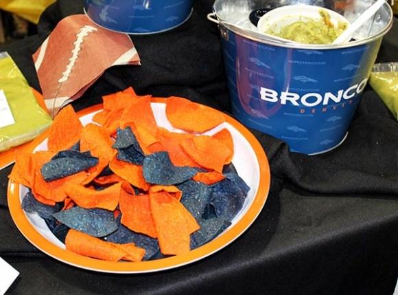 Blue and Orange tortilla chips for the Denver Broncos
