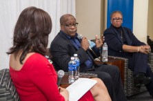 DePaul alumna and Chicago media personality Lourdes Duarte, left, leads a discussion with diversity experts Gregory Jones of United Airlines, center, and Patricia Sowell Harris of McDonald's in the DePaul Center. (DePaul University/Jamie Moncrief)