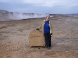 DePaul staff member Marilyn Ferdinand at the Great Geysir in southwestern Iceland.