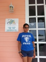 Miriam Manahan (MBA '08, BUS MS '09, MS '10) on Little Cayman in the Caribbean.