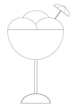 PASO 5: con un semicírculo pequeño, dos líneas paralelas y líneas curvas hacemos el paraguas de adorno del helado y listo para servir