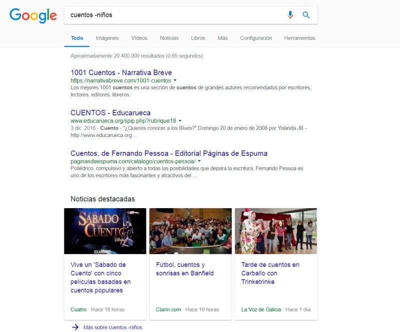 ejemplo de búsqueda con exclusión de palabras