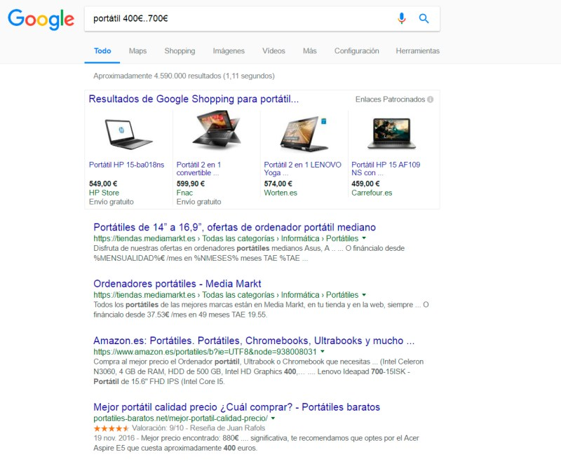 ejemplo de búsqueda por precio