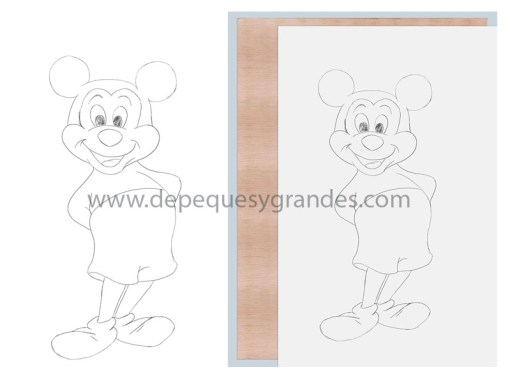 Mickey Mouse, Piolín y Winnie the Pooh : pasando dibujo de Mickey