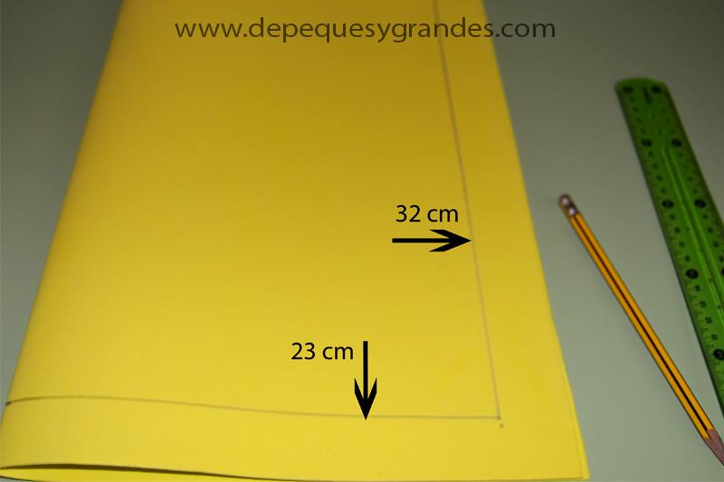 medidas para la carpeta de goma eva