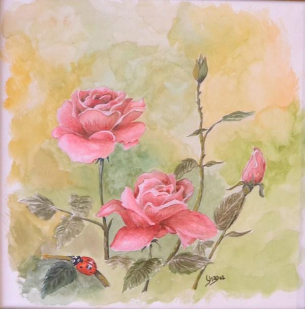 acuarela rosas con mariquita terminada