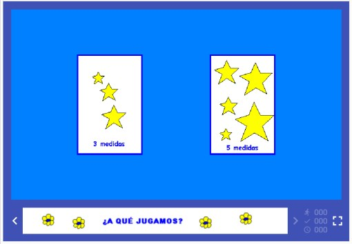 pantallas del juego clic de las medidas