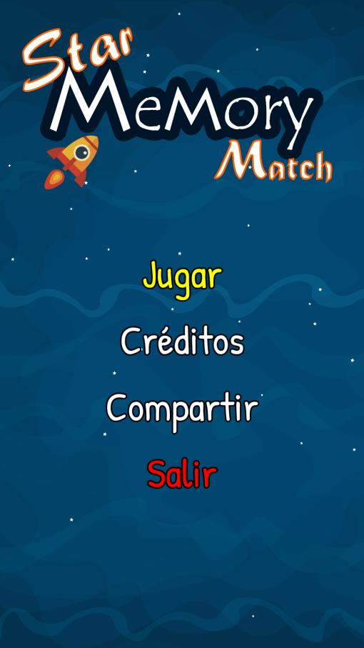 pantalla inicial star memory match
