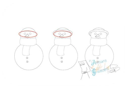 paso 4 dibujo muñeco de nieve
