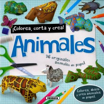 portada del libro colorea corta y crea animales