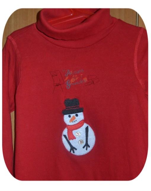 camiseta con muñeco de nieve terminada