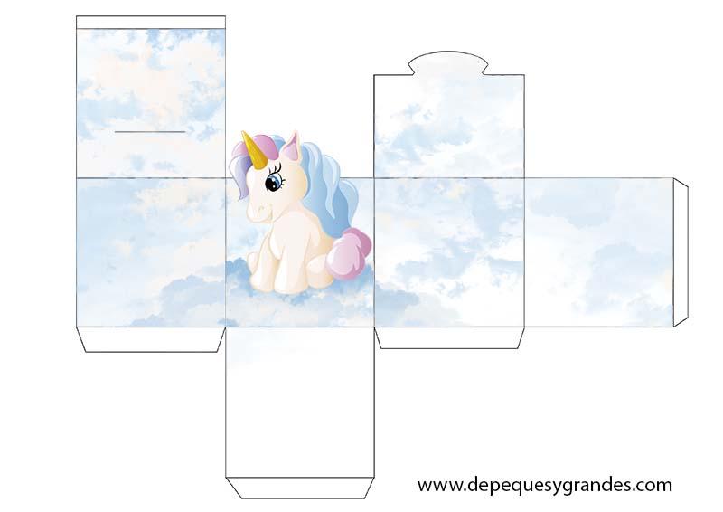 plantilla de caja para regalo de unicornio