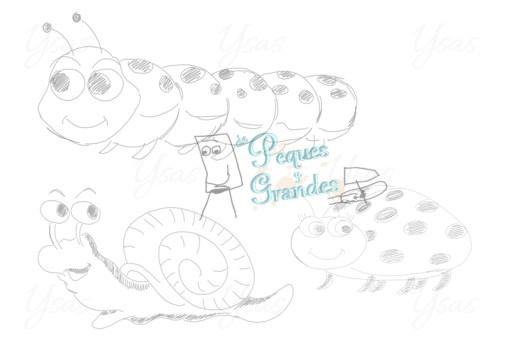 boceto oruga, caracol y mariquita
