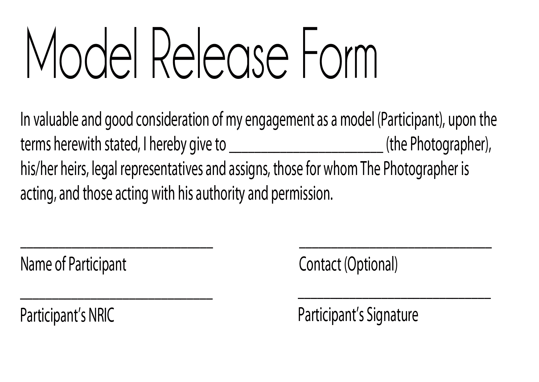 Model Release Form | Depicting Your World