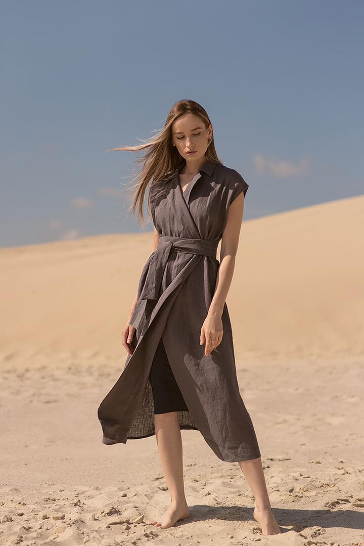 Платье из льна с люрексной нитью DEplace