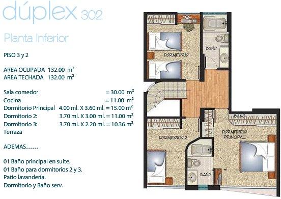 Duplex de 3 habitaciones dos planos de casas gratis for Diseno apartamentos duplex pequenos