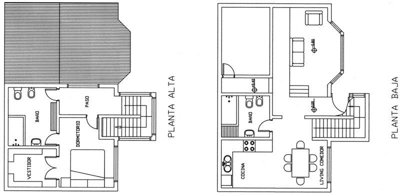 Casa de dos pisos y un dormitorio planos de casas gratis for Escaleras en planta