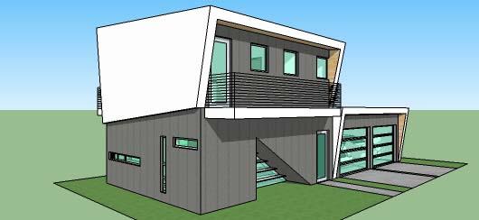 Casa moderna de dos pisos dos dormitorios y 109 metros for Fachadas de casas modernas de 120 metros cuadrados