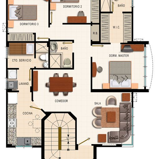 Departamento de 4 dormitorios planos de casas gratis for Casas modernas de 70m2