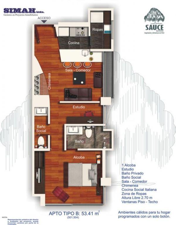 Departamento de un dormitorio y 53 metros cuadrados planos for Planos de departamentos de una habitacion