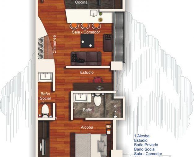 Departamento de un dormitorio y 53 metros cuadrados planos for Loft de 50 metros cuadrados