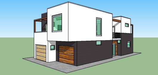 Casa moderna de dos pisos tres dormitorios y 168 metros for Piso 60 metros cuadrados 3 habitaciones