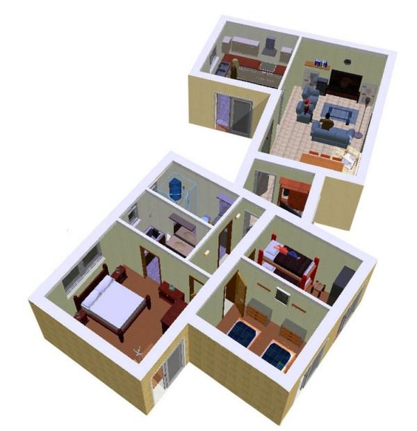 Casa de 3 dormitorios y 90 metros cuadrados planos de for Como hacer mi casa en 3d
