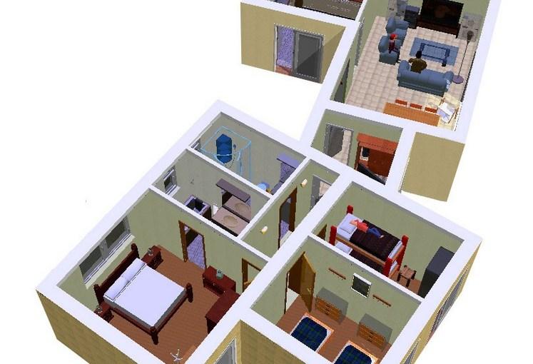 Ver planos de casas en 3d planos de casas gratis for Cuarto 4x4 metros