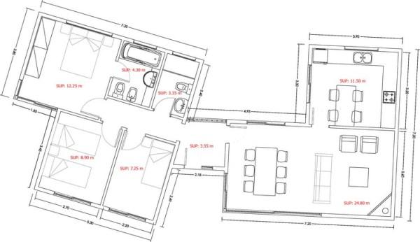 Casa de 3 dormitorios y 90 metros cuadrados planos de for Distribucion piso 90 metros