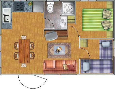 Casa prefabricada de dos dormitorio y 29 metros cuadrados