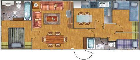 Casa prefabricada de tres dormitorios y 53 metros cuadrados