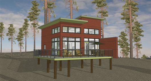 Casa en 3D de dos pisos y un dormitorios