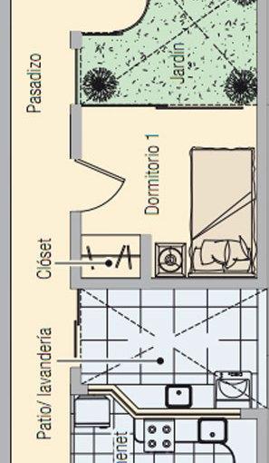 Casa de dos dormitorios y 60 metros cuadrados para terreno angosto