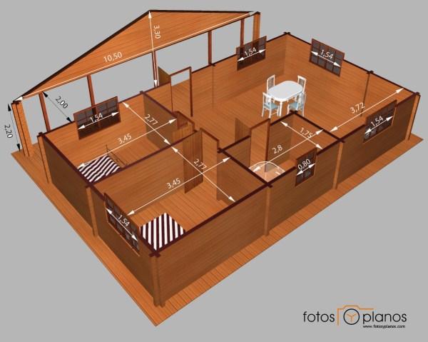 Casa de madera de dos dormitorios en 3d planos de casas for Diseno de casas 3d online