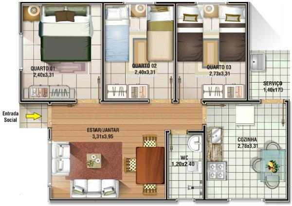 Casa economica de tres dormitorios y 62 metros cuadrados for Piso 70 metros cuadrados 3 habitaciones