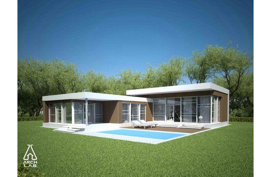 Moderna casa de una planta tres dormitorios y 143 metros - Fotos de casas en forma de l ...