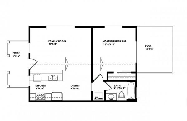 Peque a casa de un piso un dormitorio y 59 metros for Planos de casas pequenas de un piso gratis