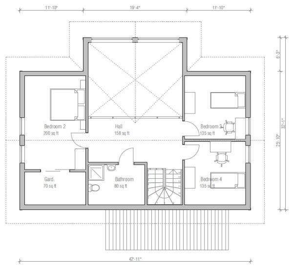 Casa moderna de 2 plantas 4 dormitorios y 170 metros for Dormitorio 12 metros cuadrados